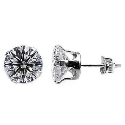 8.0ct Iced Out 10mm Russian CZ Stud Earrings 925 Silver