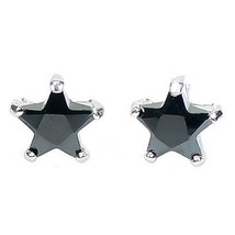 8mm 3.3c Star Cut Black Ice CZ Stud Earrings 925 Silver - $19.00