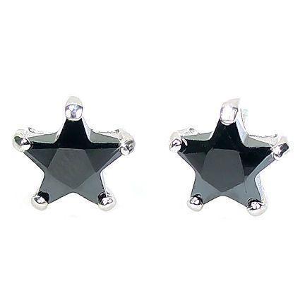 8mm 3.3c Star Cut Black Ice CZ Stud Earrings 925 Silver