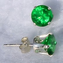 8mm 4.0ct created Emerald Stud Post Earrings 925 Silver - $12.50
