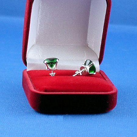 8mm 4.0ct created Emerald Stud Post Earrings 925 Silver
