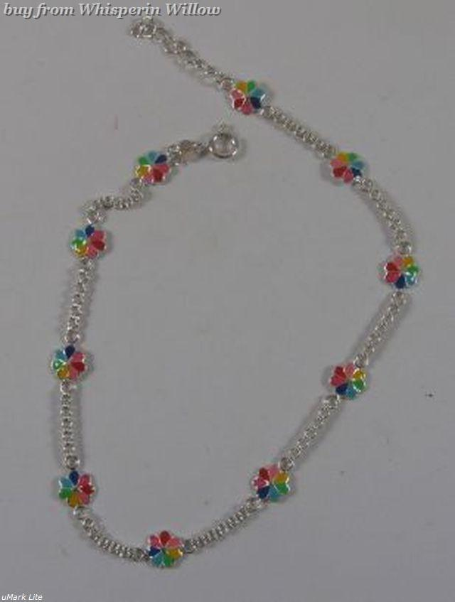 """9""""+1"""" Extension Flower Sterling Silver Chain Anklet"""