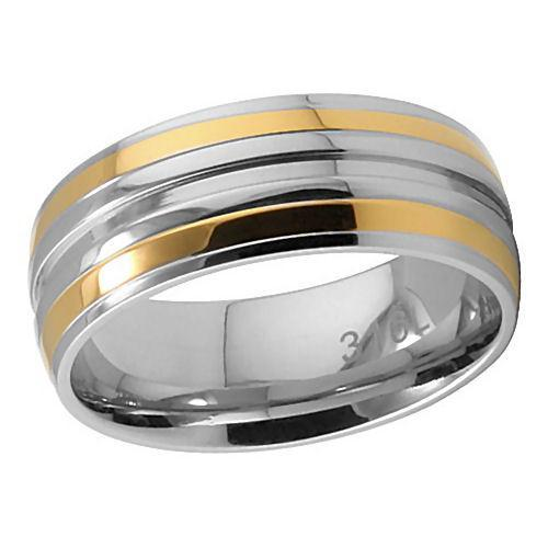 8mm Comfort Fit Stainless Steel & Gold Wedding Band s10