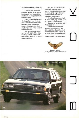 1985 Buick Century Wagon driving on road print ad