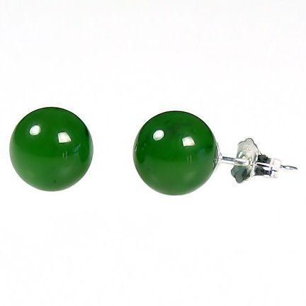 8mm Dark Green Jade Ball Studs Post Earrings 925 Silver