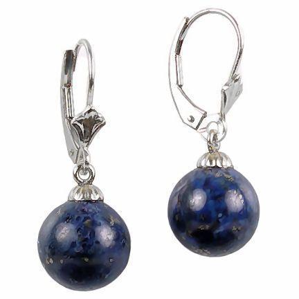 8mm Lapis Lazuli Drop Leverback Earrings 925 Silver