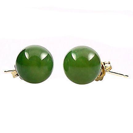 8mm Nephrite Green Jade Ball Stud Earrings 14K Gold