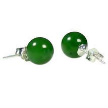 8mm Nephrite Green Jade Ball Stud Post Earrings Solid 925 Sterling Silver - $18.00