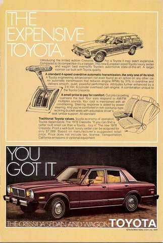 1978 Toyota Cressida Sedan and Wagon artistic print ad