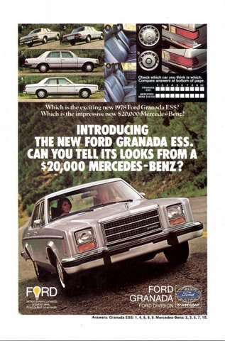 1977 Ford Granada Ess. Mercedes-Benz look-alike print ad