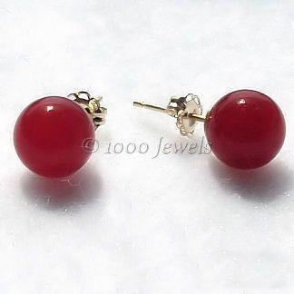 8mm Red Carnelian Ball Stud Post Earrings 14K Gold