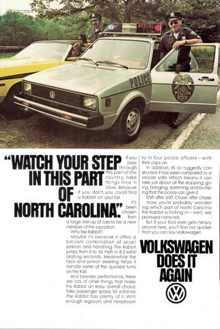 1980 Volkswagen Rabbit police car & officer print ad