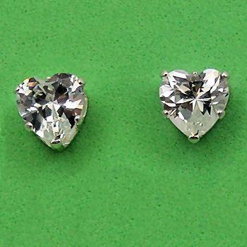 8mm Russian Ice CZ Heart Cut Stud Earrings 925 Silver