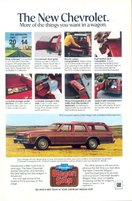 1978 GM Chevrolet Caprice station wagon print ad