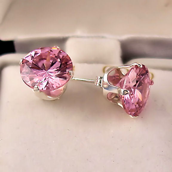 8mm created Pink Sapphire Stud Earrings 925 SS 4.0ct