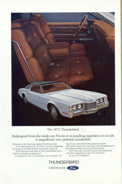 1972 Ford Thunderbird front seat interior view print ad