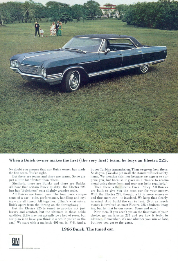 1966 Buick Electra 225 tuned car colour print ad