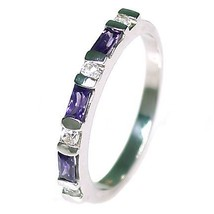 Amethyst & Russian Ice CZ Stackable Ring 925 Silver s 5 - $28.00