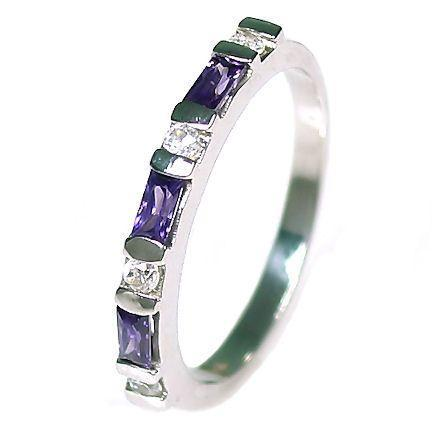 Amethyst & Russian Ice CZ Stackable Ring 925 Silver s 7