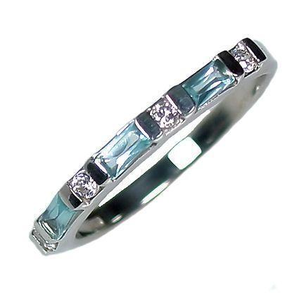 Aquamarine, Russian CZ Stackable Ring 925 Silver sz 10
