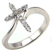 Beautiful Cross Symbol Russian Ice CZ Bypass Ring s 5 - $24.00