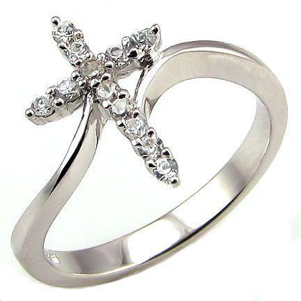 Beautiful Cross Symbol Russian Ice CZ Bypass Ring s 6