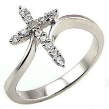 Beautiful Cross Symbol Russian Ice CZ Bypass Ring s 7 - $24.00
