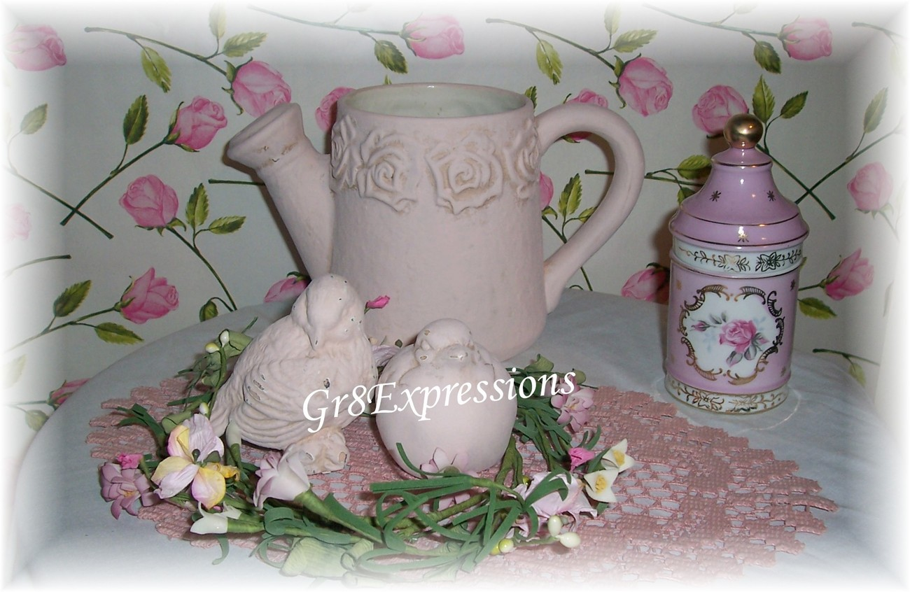 Shabby pink watering can