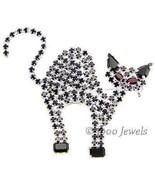 Black Cat Halloween Pin Swarovski Crystal Rhinestones - $29.00