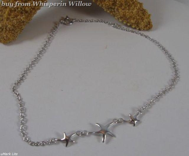 "9""+ 1.5"" Extension Sterling Silver Starfish Anklet"