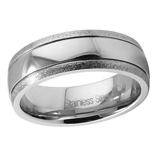 Comfort Fit Diamond-Cut Stainless Steel Wedding Band s9