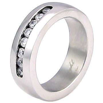 Couples Stainless Steel Russian CZ Wedding Band Ring 7