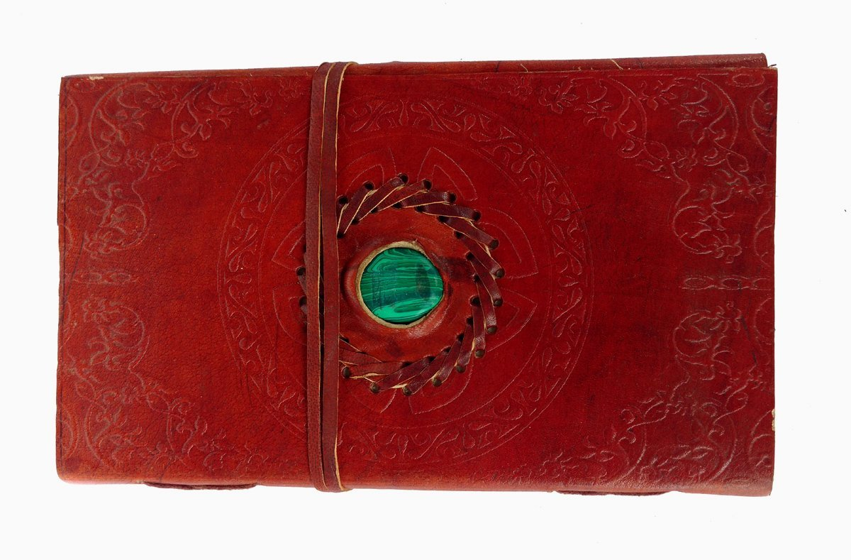 Embossed Leather Stone Fitted Unlined Journal Blank Book (9X5X1 - INCH)