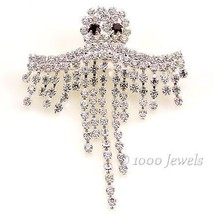 Dangling Crystal Rhinestone Ghost Halloween Bro... - $21.00