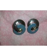 Hand Pounded Silver and Enameled Blue Entwined Circles - $12.95