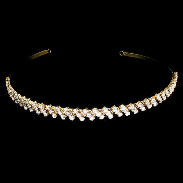 Gold Swarovski Crystal Rhinestone 3 Row ZigZag Headband
