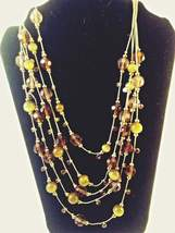 Vintage Gold Tone with Green and Orange Glass Beads Necklace - $24.95
