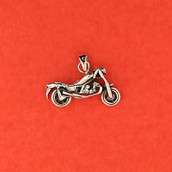 Harley Low Rider Biker Pendant Charm Unisex Design Oxidized 925 Sterling Silver