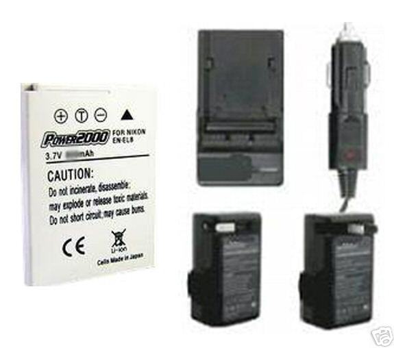 Battery + Charger for Nikon Coolpix S6 S7C S9 S50 S50C