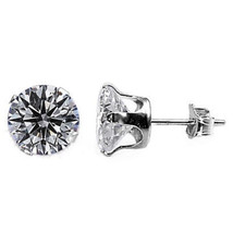 Iced Out 4.0ct, 8mm Russian CZ Stud Earrings 925 Silver - $17.00