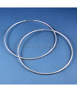 Large 100mm, 3.9 inch Endless Continuous Hoop Earrings 925 Sterling Silver - $51.99