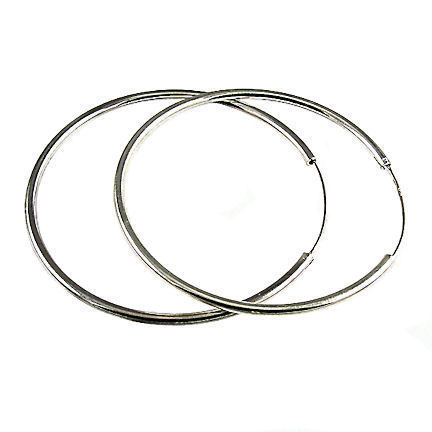 Large 100mm, 3.9 inch Endless Continuous Hoop Earrings 925 Sterling Silver
