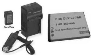 TWO 2 LI-70B Batteries + Charger for Olympus D-700 D-705 D-710 D-715 FE-4020
