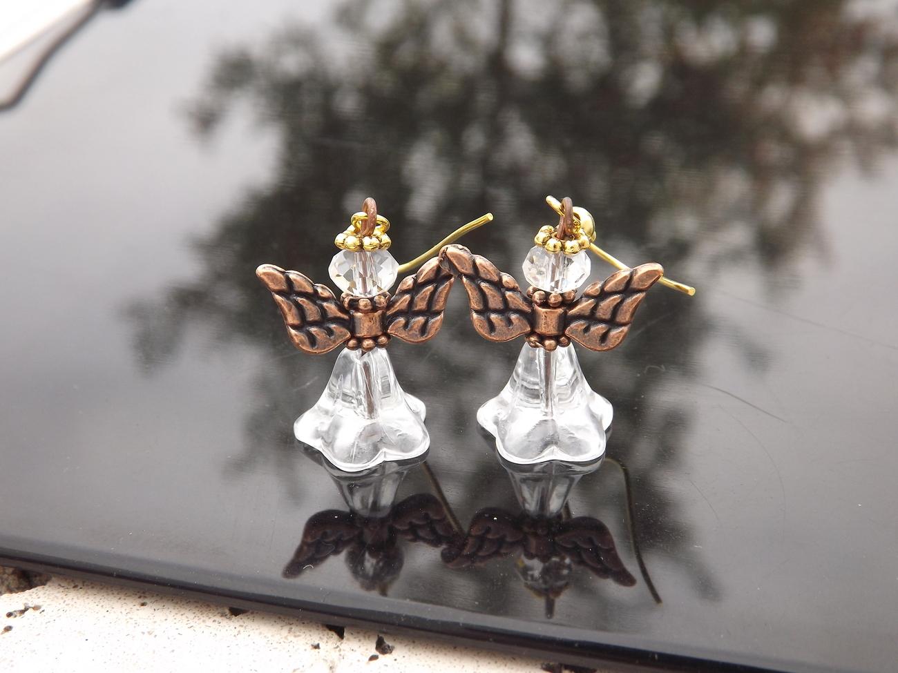 Guardian Angels 1 1/2 inch Dangle Earrings