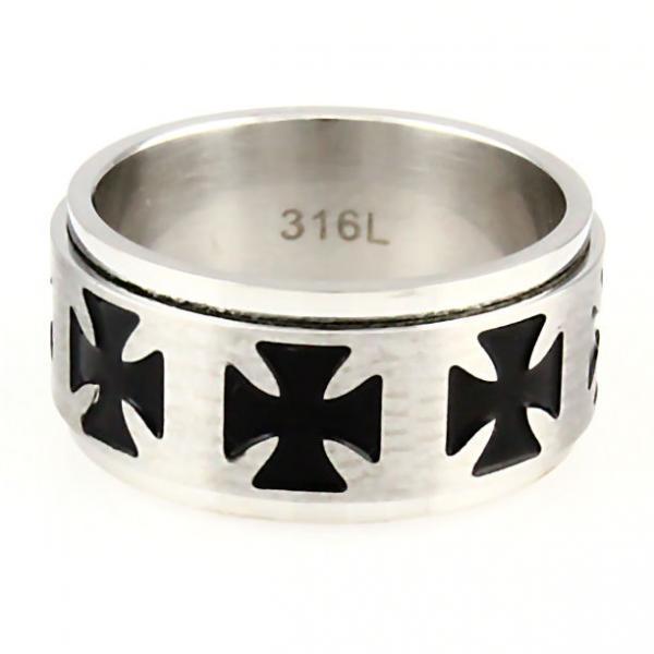 Maltese Iron Cross Stainless Steel Spinner Ring sz 13
