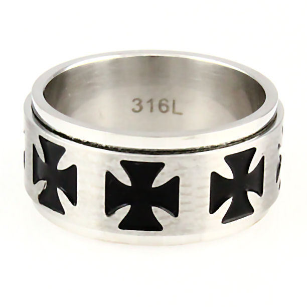 Maltese Iron Cross Stainless Steel Spinner Ring sz 9
