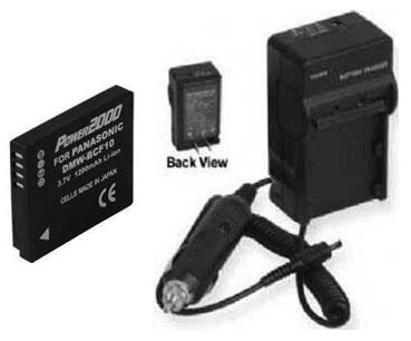 TWO 2 Batteries + Charger for Panasonic DMC-FH20 DMC-FH20A DMC-FH20K DMC-FH20P