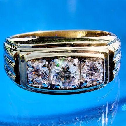 Mens 1.75c 3 Stone Russian Ice on Fire CZ Band Ring 11