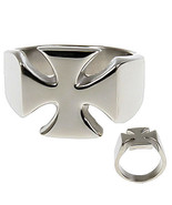 Mens 316L Stainless Steel Maltese Iron Cross Ring s 9 - $15.00
