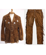 New Men's Native American Brown Suede Cow Leather Fringe Jacket & Pant WS18 - $177.31+